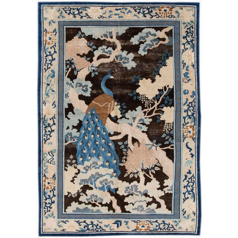 Antique Black Chinese Rug For Sale