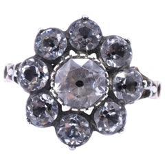 Antique Black Dot Paste Cluster Ring, 1840
