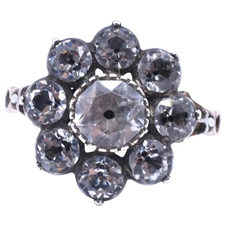 Antique Black Dot Paste Cluster Ring, 1840 For Sale