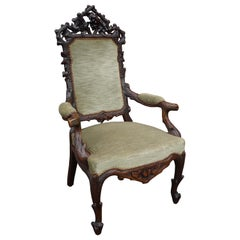 Antique Black Forest Armchair or Reading Chair by Horrix with Perfect Upholstery