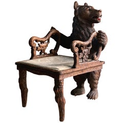 Antique Black Forest Carved Bear Hall Chair Armchair, 19th Century, circa 1875