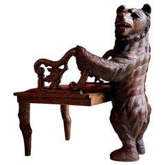 Antique Black Forest Carved Bear Hall Chair Armchair, 19th Century, circa 1875