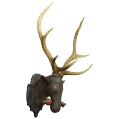Antique Black Forest Carved Deer Head in Baroque Style, circa 1890