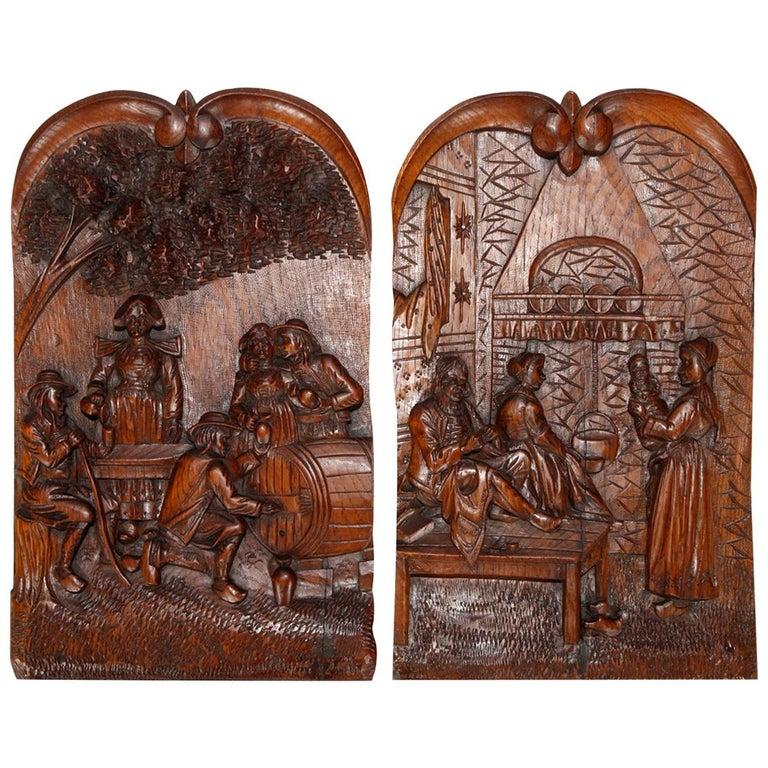 Antique Black Forest Carved Oak Genre Scene Wall Plaques, Port Louis, circa 1890 For Sale