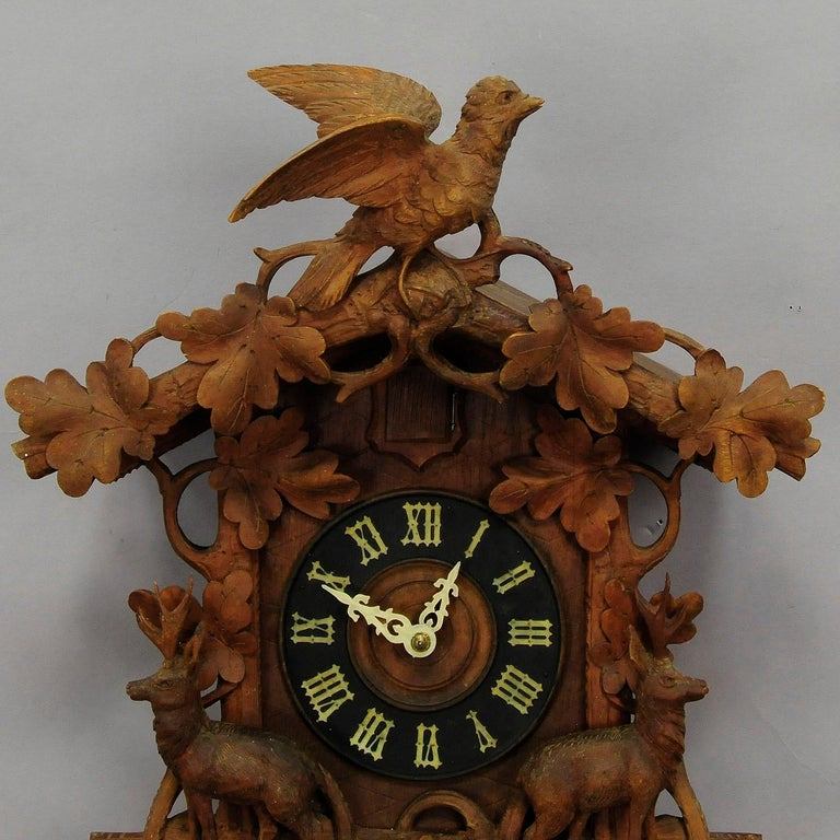Antique Black Forest Carved Wood Cuckoo Clock with Deers and Bird 2