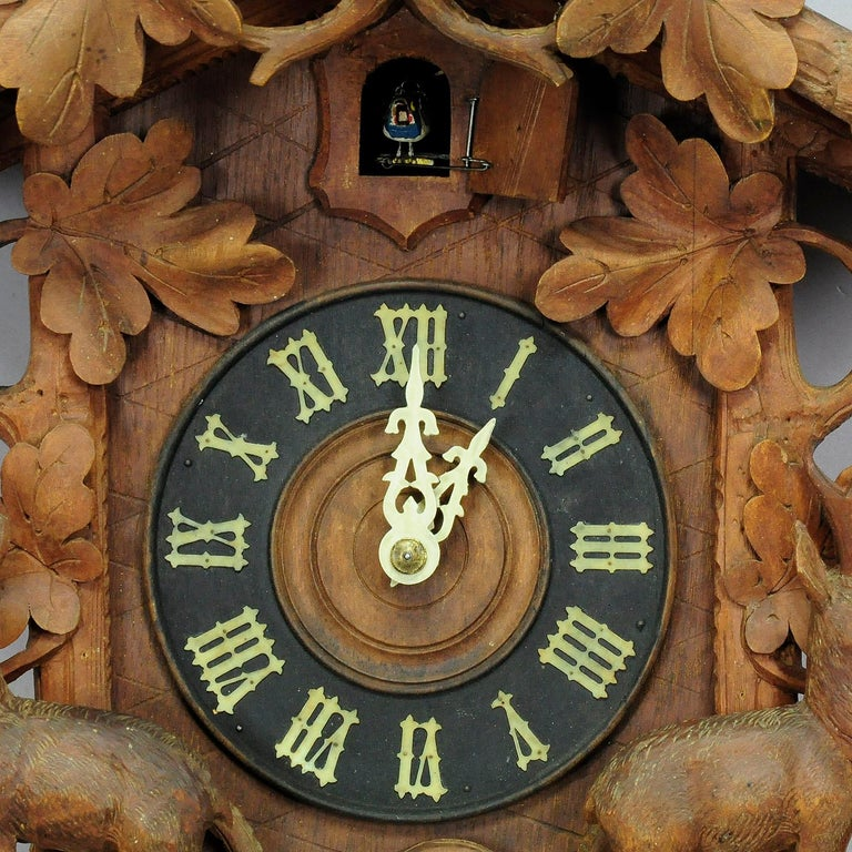 Antique Black Forest Carved Wood Cuckoo Clock with Deers and Bird 5