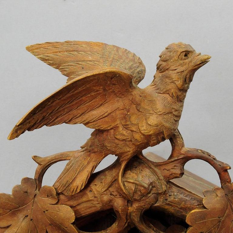 Antike Schwarzwälder geschnitzt Holz Kuckucksuhr mit Hirschen und Vogel 7