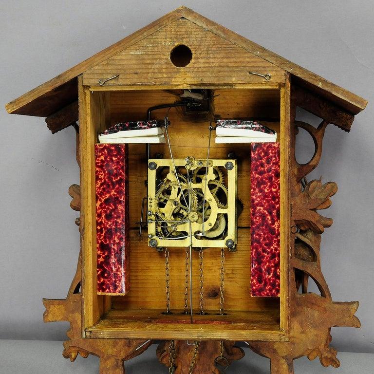 Antike Schwarzwälder geschnitzt Holz Kuckucksuhr mit Hirschen und Vogel 9