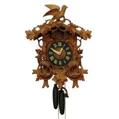 Antique Black Forest Carved Wood Cuckoo Clock with Deers and Bird