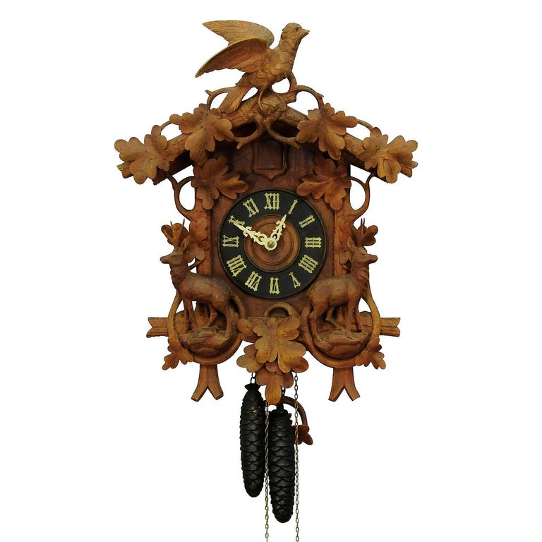 Antique Black Forest Carved Wood Cuckoo Clock with Deers and Bird 1