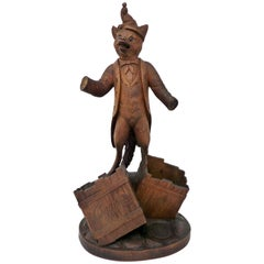 Antique Black Forest Carved Wood Fox Cigar Holder Swiss Made, circa 1900