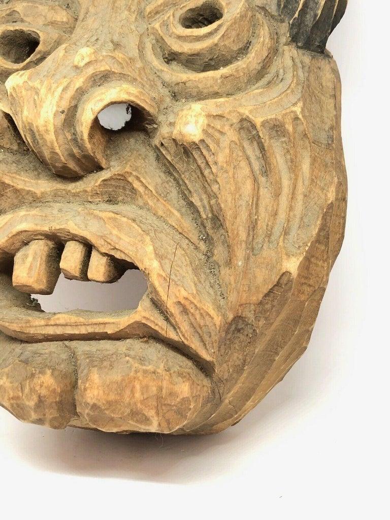 German Antique Black Forest Folk Art Alpine Gnome Dwarf Wooden Carved Mask, 1930s For Sale