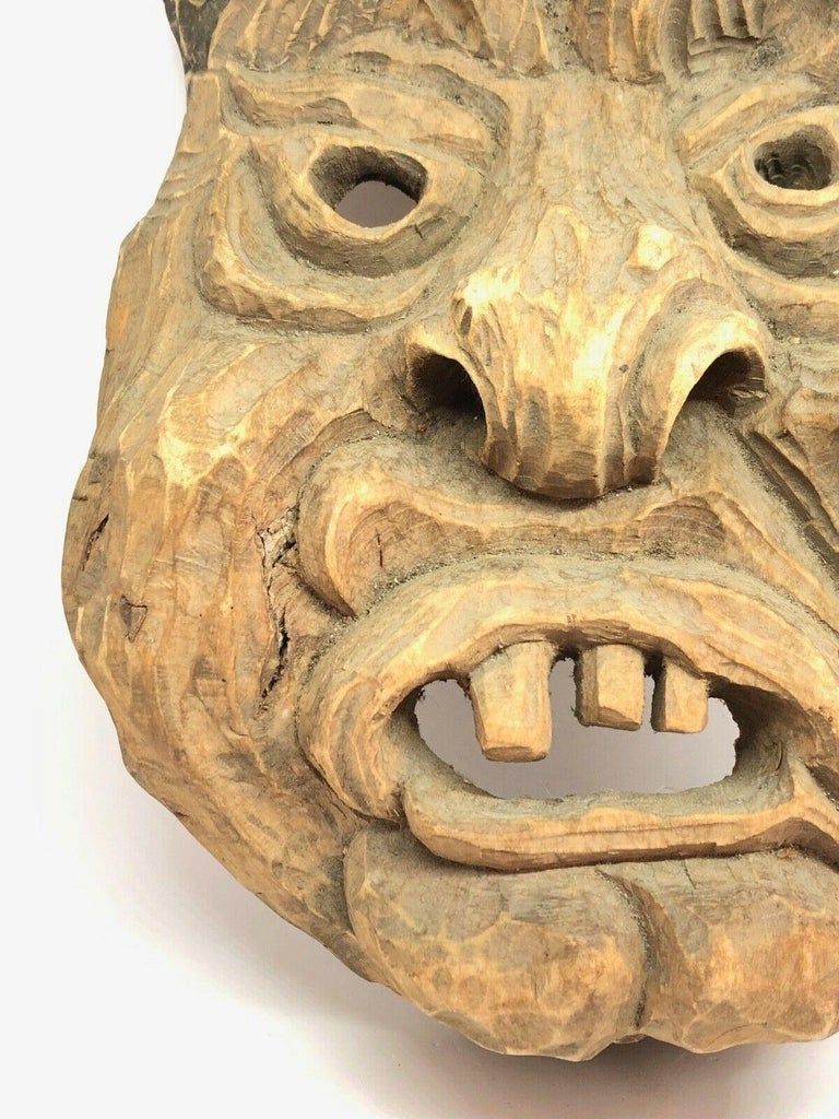 Hand-Carved Antique Black Forest Folk Art Alpine Gnome Dwarf Wooden Carved Mask, 1930s For Sale