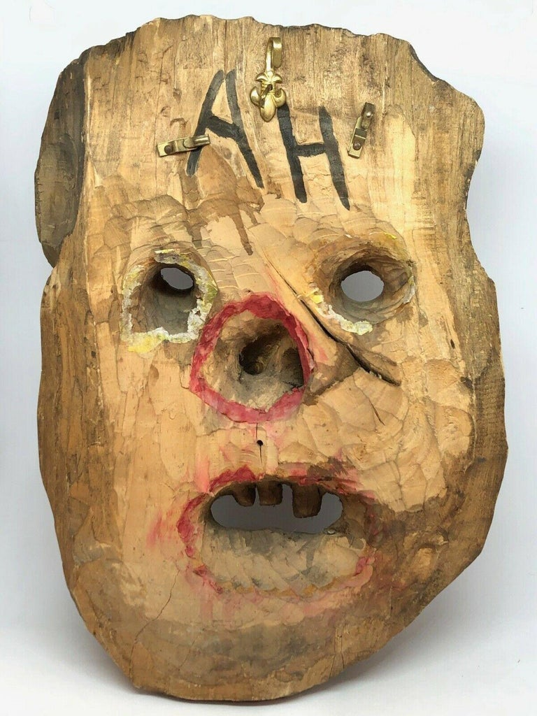 Mid-20th Century Antique Black Forest Folk Art Alpine Gnome Dwarf Wooden Carved Mask, 1930s For Sale