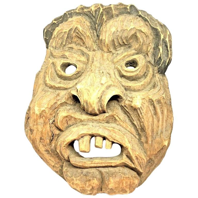 Antique Black Forest Folk Art Alpine Gnome Dwarf Wooden Carved Mask, 1930s For Sale