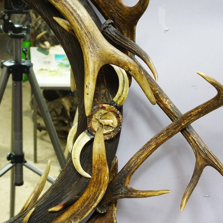 19th Century Antique Black Forest Mirror with Rustic Antler Decorations, ca. 1900 For Sale