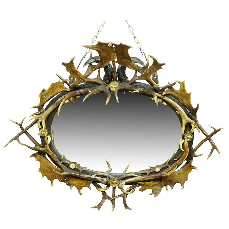 Antique Black Forest Mirror with Rustic Antler Decorations, ca. 1900 For Sale