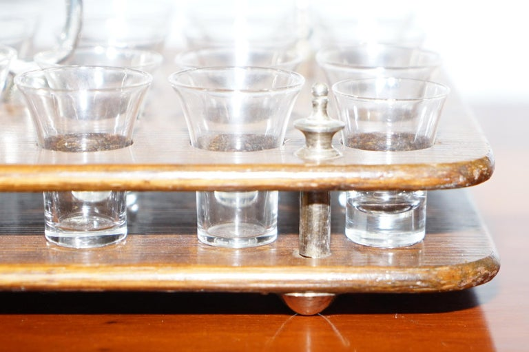 Antique Black Forest Wood 40 Shot Glass Serving Tray, Silver Mounted Handles For Sale 6