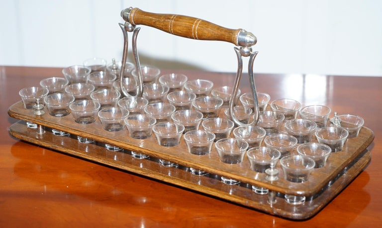American Antique Black Forest Wood 40 Shot Glass Serving Tray, Silver Mounted Handles For Sale
