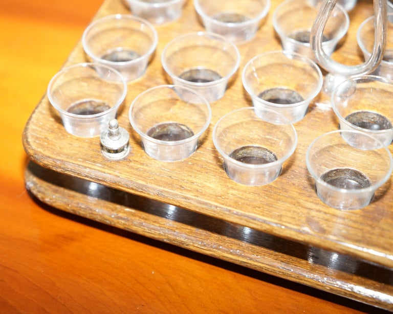 Antique Black Forest Wood 40 Shot Glass Serving Tray, Silver Mounted Handles For Sale 1