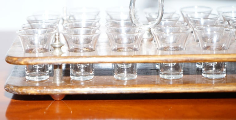 Antique Black Forest Wood 40 Shot Glass Serving Tray, Silver Mounted Handles For Sale 3
