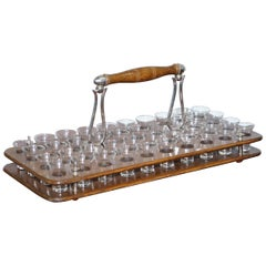 Antique Black Forest Wood 40 Shot Glass Serving Tray, Silver Mounted Handles