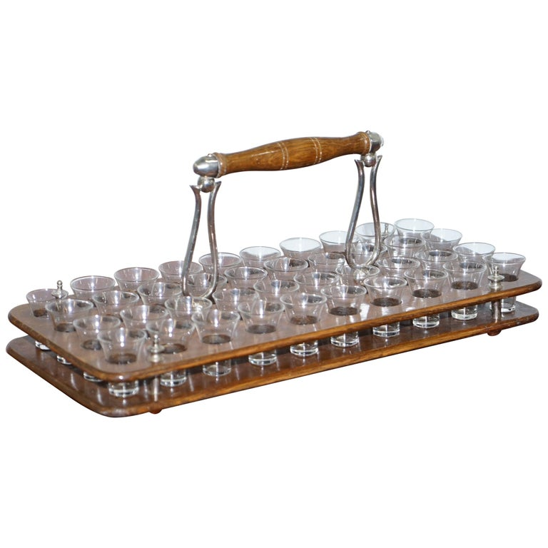 Antique Black Forest Wood 40 Shot Glass Serving Tray, Silver Mounted Handles For Sale