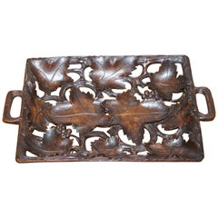 Antique Black Forrest Hand-Carved Fruit Serving Tray Lovely Decorative Piece
