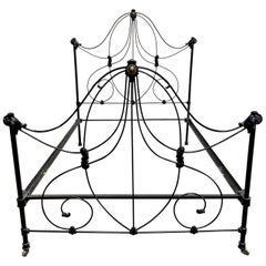 Antique Black Full Double Size Victorian Style Iron Bed with Rails