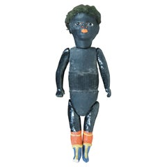 Antique Black German Bisque Ebony Girl Doll Jointed Limb Painted Boots