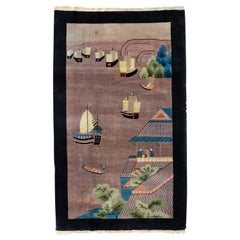 Antique Black Grey Green Blue Chinese Pictorial Area Rug with Boats, circa 1940s