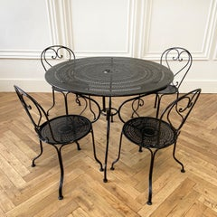 Antique Black Iron French Patio Outdoor Table and Chairs