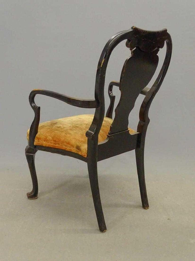 Chinoiserie Antique Black Japanned Armchair For Sale