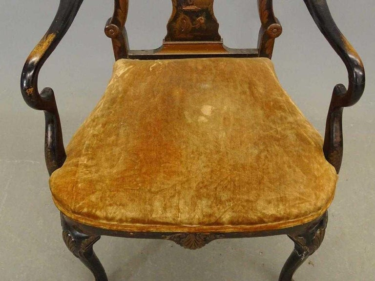 Antique Black Japanned Armchair In Good Condition For Sale In Great Barrington, MA