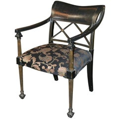 Antique Black Lacquered English Regency Armchair