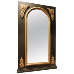 Antique Black Lacquered Mirror, with Golden Decorations, 1800, Italy
