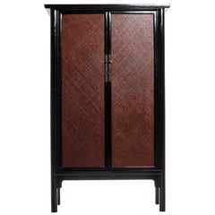 Antique Black Lacquered Woven Armoire with Rattan Panels from China, circa 1800s