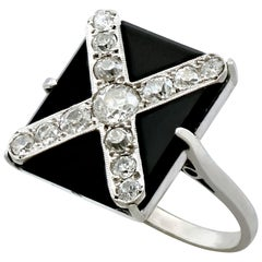 1930s Antique Black Onyx and Diamond White Gold and Platinum Dress Ring