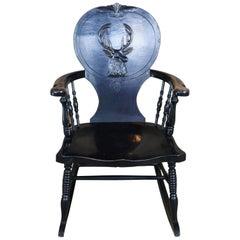 Antique Black Painted Oak Stag Back Hunt Rocker Rocking Chair