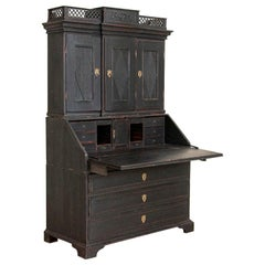 Antique Black Painted Secretary Bureau, Denmark