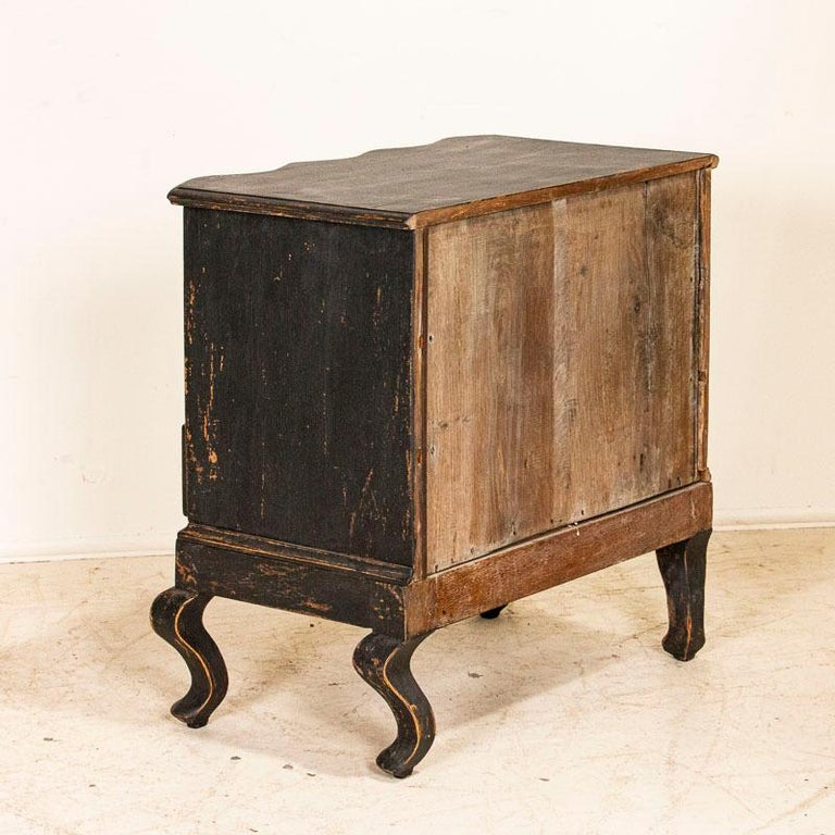 Antique Black Painted Small Chest of Drawers or Nightstand In Good Condition For Sale In Round Top, TX
