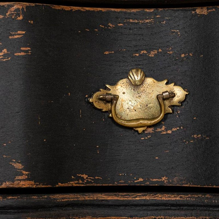 18th Century Antique Black Painted Small Chest of Drawers or Nightstand For Sale