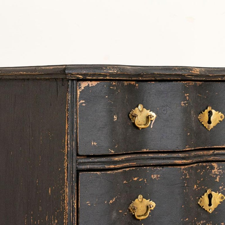 Wood Antique Black Painted Small Chest of Drawers or Nightstand For Sale