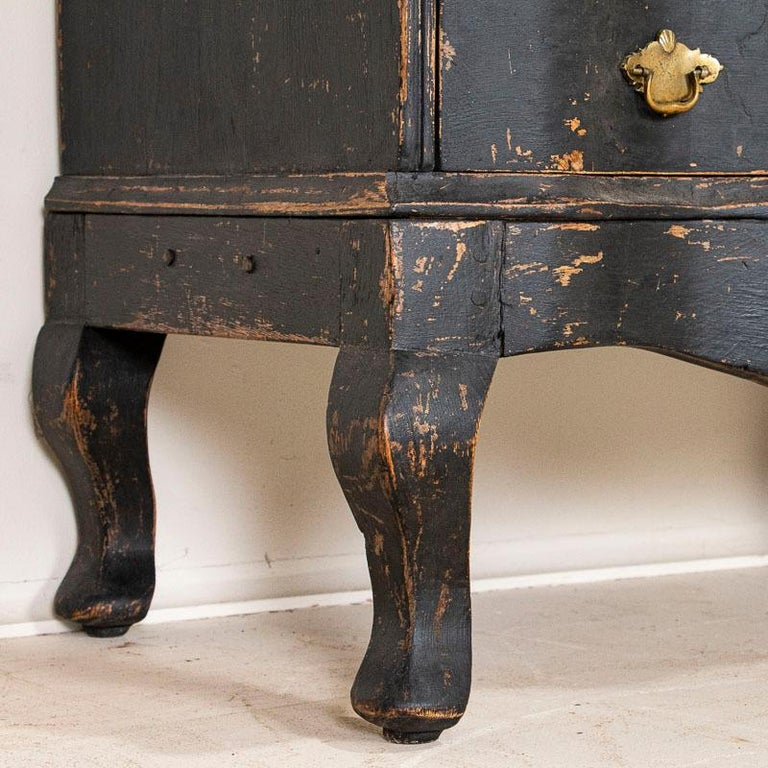 Antique Black Painted Small Chest of Drawers or Nightstand For Sale 1