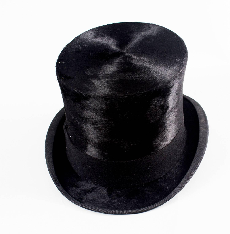 585b5389dc0 Antique Black Silk Top Hat by Christy s London