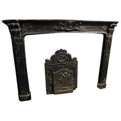 Antique Black Slate Fireplace Mantel, Italy 1800 Carved Cartouche