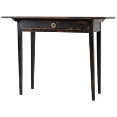 Antique Black Swedish Neoclassical Writing Table