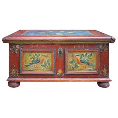 1823 Blanket Chest, Red Birds and Floral Painted