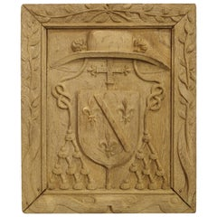 Antique Bleached French Bishops Coat of Arms Panel