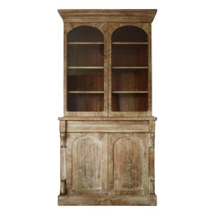 Antique Bleached Mahogany Arched Door Glazed Cabinet